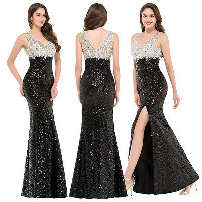 New Sexy Women Sequins Long Maxi Prom Evening Party Dress Bridesmaid Dresses ~16
