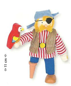 Goki-51618-Biegepuppe-Pirat-mit-Holzbein-fuer-Puppenhaus-Holz