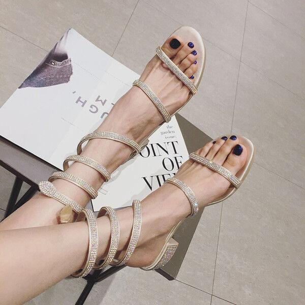 Sandalen 1 cm elegant gold strass quadrat niedrig Sandale simil leder 1170