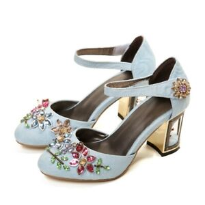 Womens-Round-Toe-Velvet-Ankle-Strap-Pumps-Rhinestone-Flower-Shoes-Cage-Heels-New