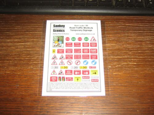 00 scale 4 mm ROAD TRAFFIC WORKS /& TEMPORARY SIGNAGE SHEET SANKEY SCENICS