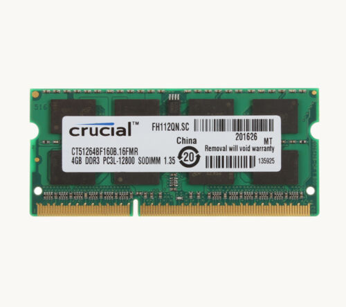 Crucial 4GB PC3L-12800S 1.35V Tested Laptop RAM Memory SODIMM DDR3 1600Mhz CL11