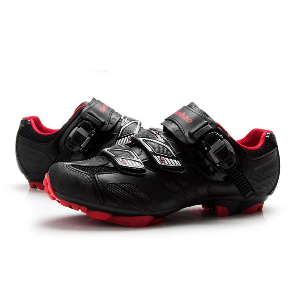 Zapatos De Ciclismo Bicicleta MTB Tiebao para Shimano SPD Sistema Bike Zapatos Negro Rojo