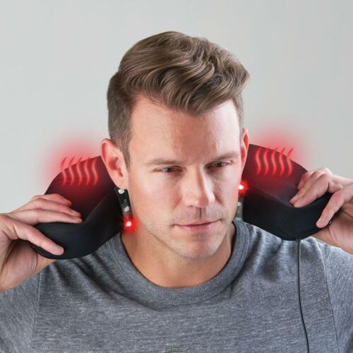 The Neck Pain Relieving Therapeutic LED Light Therapy Travel Cushion Black