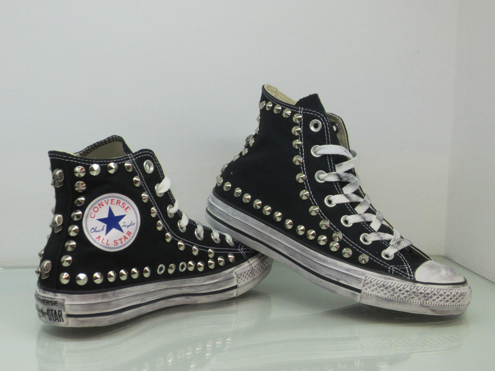 Converse All Star Hi studs and skulls shoes womens vintage black man craft