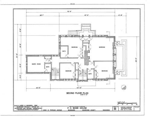 Frank Lloyd Wright/'s Bogk architectural plans brick Prairie Style house