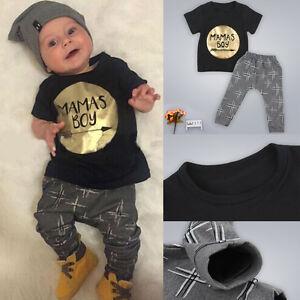 87843f9274 Das Bild wird geladen 2tlg-Neugeborene-Baby-Jungen-MAMAS-BOY-Outfits-Sets-