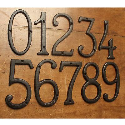 "4/""//100mm BLACK ANTIQUE IRON HOUSE DOOR NUMBERS NUMERALS HEAVY"