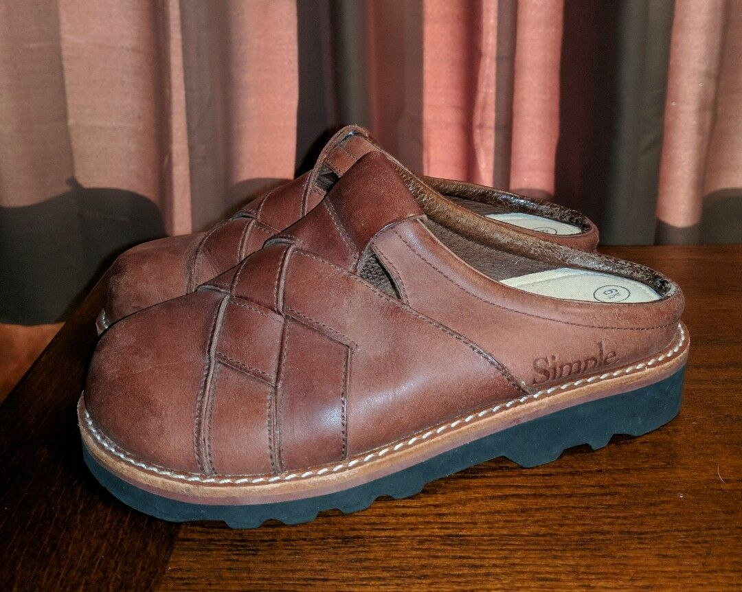 SIMPLE THICK WOVEN LEATHER MULES CLOGS chaussures LADIES 6.5 M marron HIPPIE FESTIVAL