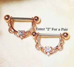 Ornate Rose Gold Nipple Rings Jewelry Bar Barbell 14g 58 Piercing