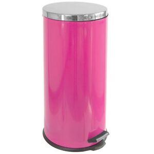 Détails sur Poubelle à pédale 30 litres en acier inoxydable intérieure rose  seau poubelle déchets cuisine- afficher le titre d\'origine