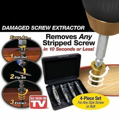 Fast! 4 in 1 Screw Extractor Drill Bits Guide Set Broken Damaged Bolt Remover DN