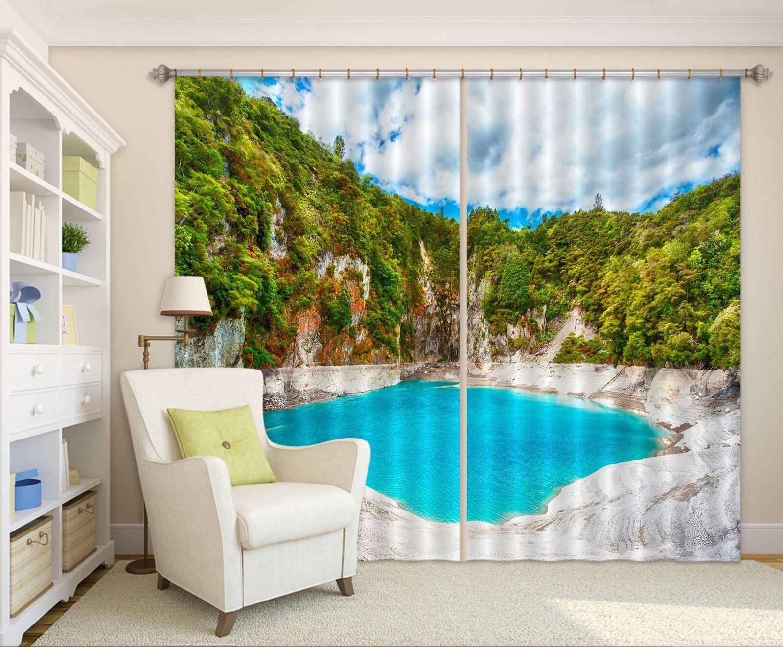Grupo de montaje 3D Azul 01 Cortinas de impresión de cortina de foto Blockout Cortinas nos Limón