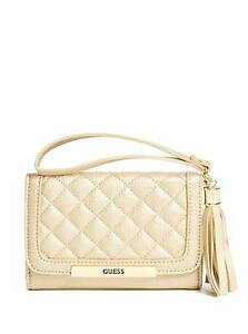 wide varieties shop huge discount Details about NEW GUESS SANDY GOLD QUILT LEATHERETTE,CELL  PHONE,TASSEL,FLAP,WRISTLET,WALLET