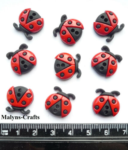 SEW CUTE LADYBIRDS Craft Buttons 1ST CLASS POST Insects Garden Bugs Dress It Up