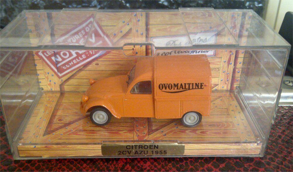 CITROEN 2CV AZU 1955 OVOMALTINE NOREV 2 CV 1 43 RARE BOX BOITE CRISTAL TIROIR