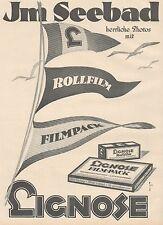 J1126 LIGNOSE Rollfilm & Filmpack - Pubblicità grande formato - 1927 Old advert