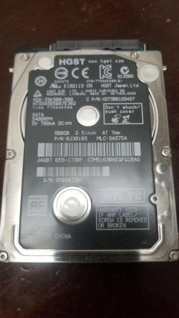 """Apple 655-1730F HGST Z5K500-500 HTS545050A7E362 500GB 2.5"""" 5400RPM SATA 2.5 HDD"""
