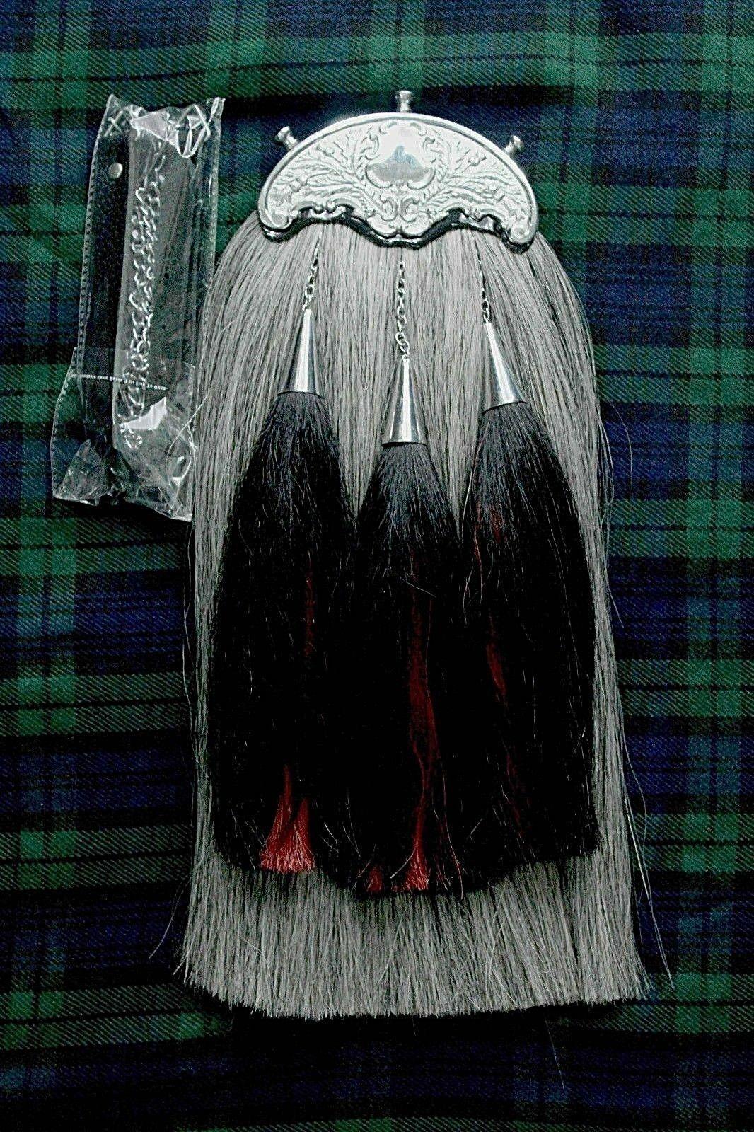 Piper Grey Long Horse Hair Kilt Sporran Leather Thistle Chrome Cantel Chain Belt