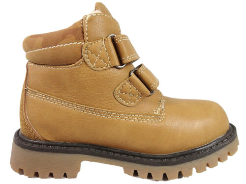 Boys Tan Casual Desert Ankle Boots Faux Leather Soft Close Fastening 6-12 UK