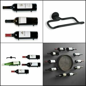 Rustic State Wall Mount Iron Wine Bottle Holder Rack for All Adult Beverages or Liquor Set of 5 Black