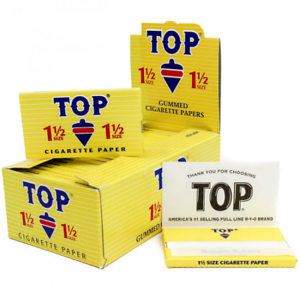 TOP-1-1-2-Rolling-Papers-Box-24-PACKS-Fine-Gummed-Cigarette-RYO-Tobacco-1-5