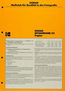 Kodak Ektachrome 22 Ppapier - Kodak Datenblatt P-F 13 - Deutschland - Kodak Ektachrome 22 Ppapier - Kodak Datenblatt P-F 13 - Deutschland