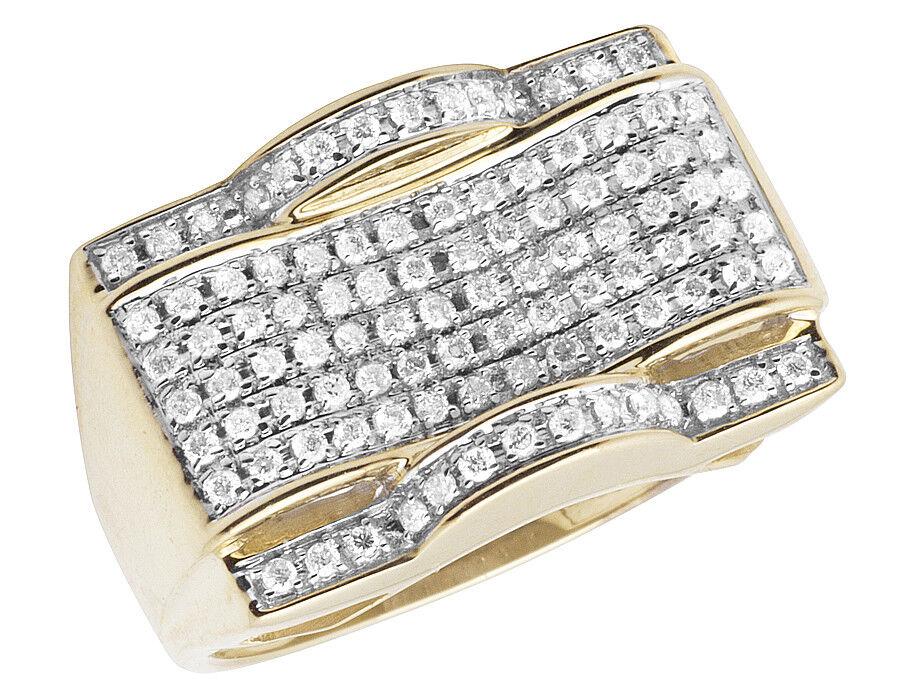 Men's 10K Yellow gold Wave Real Diamond Wedding Engagement Pinky Ring 1.0ct 15MM