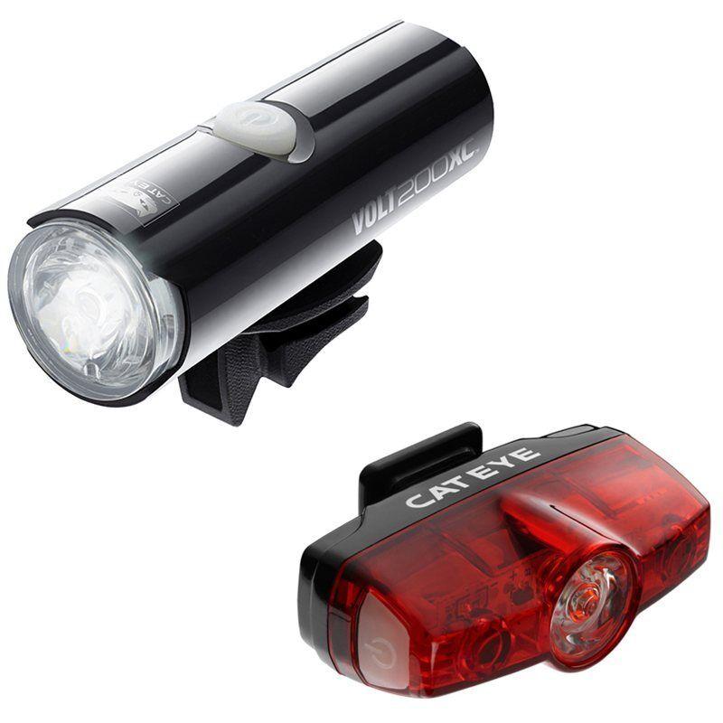 Cateye Volt 200 XC & RAPID Mini USB ricaricabile luce Set -
