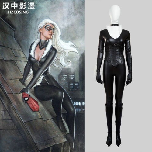 The Amazing Spider-Man Black Cat Felicia Hardy Cosplay Costume Jumpsuit