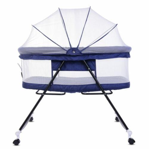 New Travel Cot Bed Fold Bedside Crib Infant Baby Toddler Child Bassinet UK STOCK