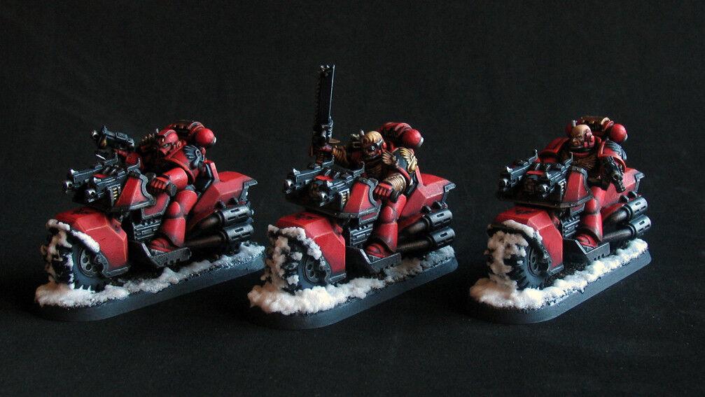Pro målat Warhammer 40k Blood Angels Bikes trupp miniatyr