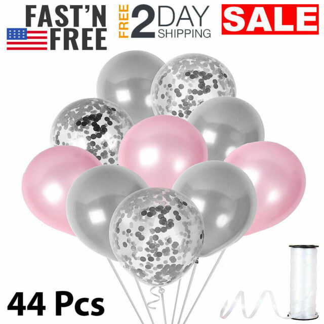 Elephant Theme Pink And Gray Confetti Balloons Baby Shower Decorations For Girl