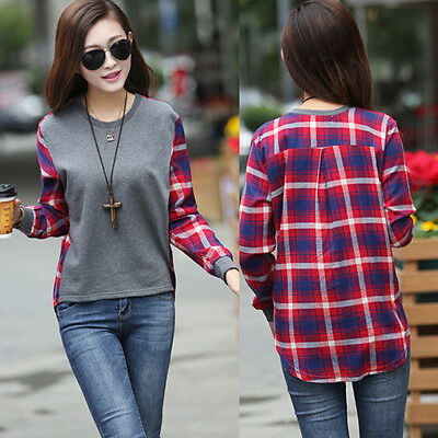 Women Checked Long Sleeve Casual Loose Tee Shirt Tops Blouse Round Neck OE