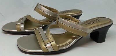 LIFE STRIDE 8.5 Wide Open Toe Brown Gold Buckle High Heels Womens SOFT SYSTEM
