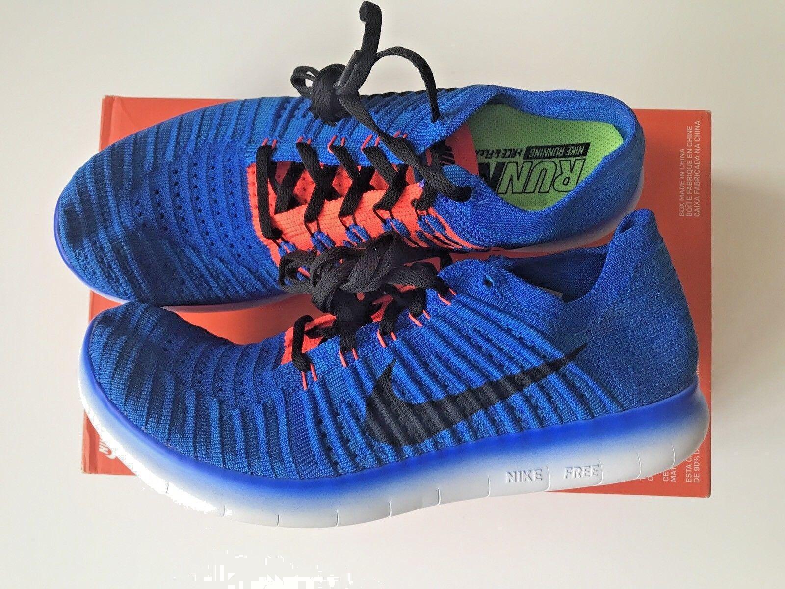 Nike libera rn flyknit scarpe da corsa formatori dimensione blu / squadra arancione