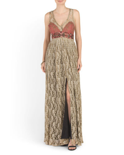 78cf2c934e2 3 of 4 FREE PEOPLE Crushed Gold Embellished Party Maxi Dress Sz 0 2   4   400 NWT