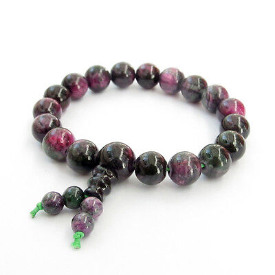 Purple Green Jade Beads Tibet Buddhist Prayer Bracelet Mala
