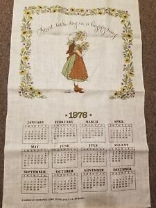 New-Vtg-Holly-Hobbie-Linen-Tea-Towel-Wall-Calendar-1976-START-EACH-DAY-IN-A