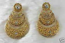 Gold Plated Zerconic Handmade Bollywood Designer Party Wear Long Earrings