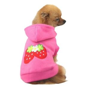 1X-Small-Strawberry-Dog-Cat-Puppy-Fleece-Hoody-Clothes-Pet-Apparel-Dress-Up-C8M0