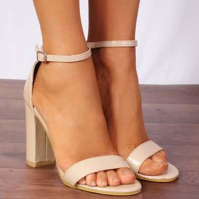 Nudo Brevetto Barely There Sandali Peep Toes Tacchi Alti Scarpe Cinturino Alla Caviglia-mostra Il Titolo Originale