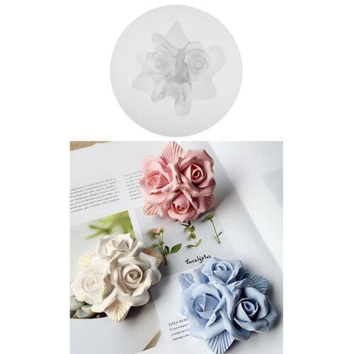 Drei rose flower seifenform silikon fondant kuchenform gips gipsfertigkeit