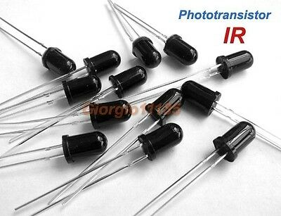 50pcs 5mm IR Infrared Phototransistor Fast response time &  High sensitivity