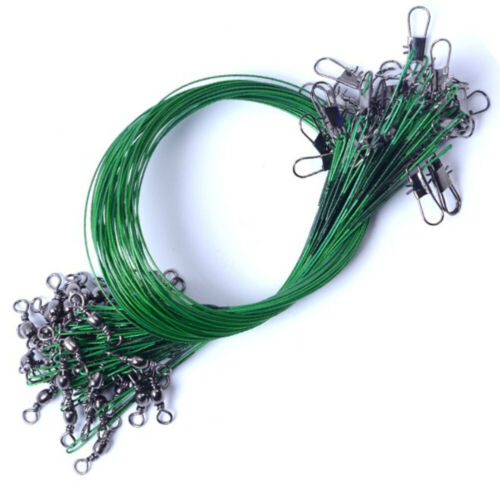 20PCS New Nylon Fishing Line Wire Coated Stainless Steel Wire Swivels Hooks #H