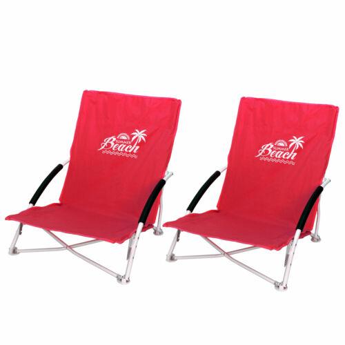 2er Set de plage Chaise Chaise de jardin chaise de camping Incl Sac de transport rouge