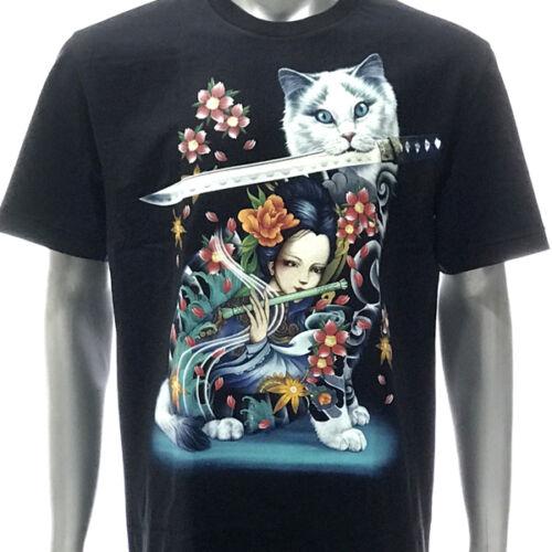 Japanese GEISHA T-shirt Tattoo r213 ROCK EAGLE Glow in Dark chat chaton amant Tee