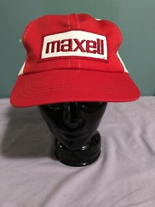 Image is loading Vintage-Maxell-Snapback-Hat-Cassette-Tape-Trucker-Patch- 0cd4c760083b