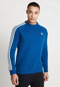 Custodio Onza tramo  Adidas Originales 3 Rayas Sudadera Jumper cuello redondo retro chándal de  Superdry en azul marino | eBay