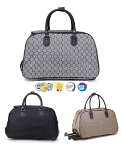 3bb197bb5 Image is loading GG-PRINT-Wheeled-Holdall-weekend-luggage-travel-Cabin-